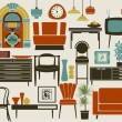 Stock Vector: Retro Furniture, Accessories and Appliances