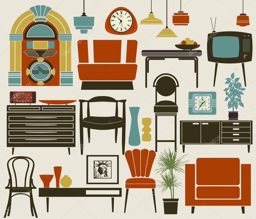 Retro furniture accessories and appliances stock vector for Retro home furniture