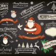 Stock Vector: Christmas Elements and Greetings on Chalkboard