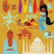 India Landmarks, Symbols and Icons — Stockvectorbeeld