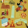Italy Landmarks, Symbols and Icons — Stock Vector #36066717