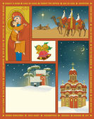 Vintage Religious Christmas Poster — Stock Vector