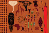 Icônes de l'afrique, éléments de design de symboles — Vecteur