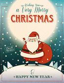 Santa Clause Christmas poster — Stock Vector
