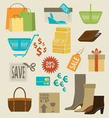 Colorful shopping icons, labels, tags and symbols — Stock Vector