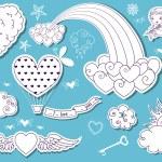 Valentine's Day Doodle Sky — Stock Vector #39368811