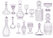 Antique Crystal Decanters and Glasses — Stock Vector