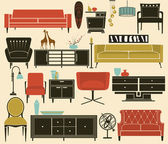 Retro Furniture and Home Accessories — Stock Vector