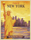 Travel to New York Poster — Stock Vector