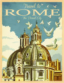 Travel to Rome Poster — Stock Vector