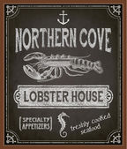 Chalkboard Poster for Seafood Restaurant — Stock Vector