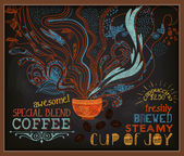 Chalkboard Poster for Coffee Shop — Stock Vector