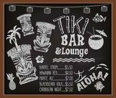 Tiki Bar and Lounge Chalkboard Cocktail Menu — Stock Vector