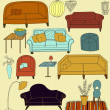 Doodle Furniture and Home Accessories — Stock Vector