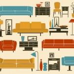 Retro Furniture and Home Accessories — Stock Vector #44196871