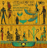 Set of Ancient Egyptian Deities, with Gold Egyptian Background, with Hieroglyphs — Vetorial Stock