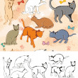 Seamless pattern: Cats — Image vectorielle