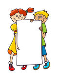 Kids with a banner — Stock Vector