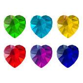 Set of heart-shaped gemstones — Stock Vector