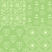 Seamless green patterns — Stock Vector