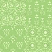 Seamless green patterns — Stock Vector