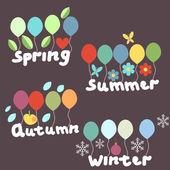 étiquettes de saisons — Vecteur