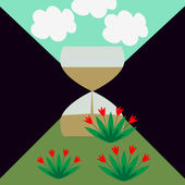 Sandglass and landcape — 图库矢量图片