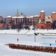 Wawel Castle in Krakow and frozen Vistula river — Stock Photo