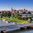 Stock Photo: Wawel Castle, Vistula river and bridge in Krakow, Poland