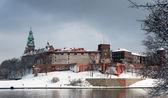 Wawel Castle in Krakow and Vistula river in winter — Stock Photo