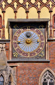 Clock on Town Hall in Wroclaw — Stock Photo