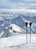 Kayak direkleri ve eldiven alpleri'nde — Stok fotoğraf