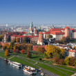 Krakow Skyline with Wawel Castle in Fall — Stock Photo