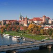 Stock Photo: krakow skyline with wawel castle in fall