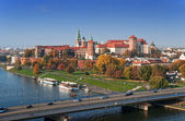Krakow Skyline with Wawel Castle in Fall — Foto Stock