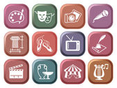 Icons of arts on buttons — Stock Vector