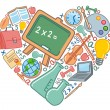 Love to school — Stock Vector
