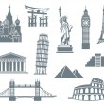 World Landmark Icon Set — Stock Vector