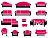 Sessel und sofas — Stockvektor
