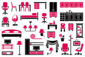 Furniture icon set — Stok Vektör