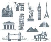Welt-landmark-icon-set — Stockvektor