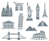 Welt-landmark-icon-set — Stockvektor