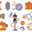 Sewing and needlework icons - Image vectorielle