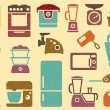 Seamless background from icons of kitchen home appliances — Stock Vector