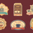 Coffee and tea stickers — Stock Vector