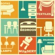 Icons of furniture and interiors — Imagens vectoriais em stock