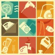 Vintage home appliances icons — Stock Vector