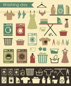 Laundry icons — Stock Vector