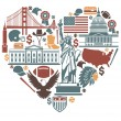 Icons of the USA in the form of heart — Stock Vector #49697511