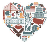 Icons of the USA in the form of heart — Stock Vector